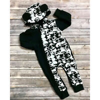 Infant Baby Boy Girl Panda Clothes Hooded Zipper Jumpsuit Romper Bodysuit Outfit