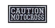 Caution Motocross Biker Heavy Rocker Patch Aufnäher Bügelbild Kutte Badge Stick