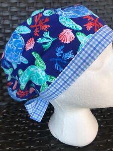 Sea turtles 🌊🐢 Surgical Cap Nurses Scrub Hat Womens USA🇺🇸 Made 100% Cotton