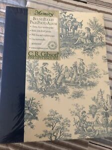 "New C.R. Gibson Waverly Country Life Blue Toile Photo Album Sealed 4"" 6"" Photos"