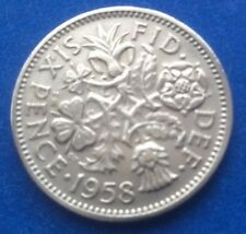 """1958 la reina Isabel II """"Lucky Tanner"""" Seis Peniques Moneda 60TH Cumpleaños"""