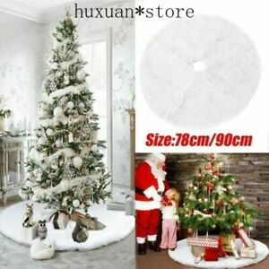 78/90cm Long Snow Plush Christmas Tree Skirt Base Floor Mat Cover XMAS Decor USA