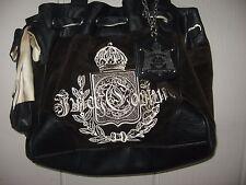 Juicy Couture BROWN Velour Black Trim Purse Daydreamer EUC 10 x 13 x 5
