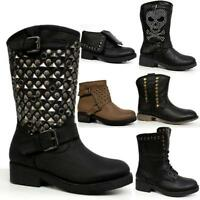 Ladies Biker Boots Womens Girls Winter Smart Riding Army Ankle Goth Punk Shoes