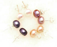 4 Pair 7-8mm Multicolor Natural FreshWater Flat Pearl Earrings for Women Jewelry