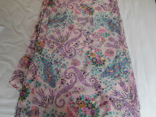 FLORAL SHEER SMOOTH PURE SILK  DRESS FABRIC
