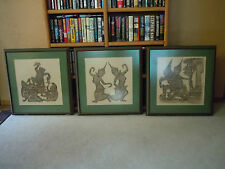 Beautiful Angor Wat Temple Rubbings Framed Set of 3 Estate Find