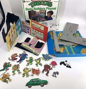 RARE Colorforms TEENAGE MUTANT NINJA TURTLES Busy Builders Playset 1990 Vintage