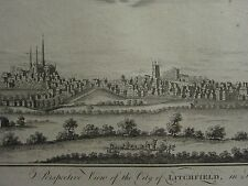 c1770 ANTIQUE PRINT ~ VIEW OF THE CITY OF LITCHFIELD IN STAFFORDSHIRE