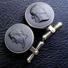 vintage solid SILVER signed WEDGEWOOD black cameo mens cufflinks -D163