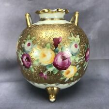 Nippon Hand Painted Handled Pink And Yellow Roses & Gold Trifoot Bulbous Vase