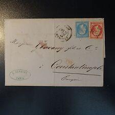 NAPOLÉON N°24 LETTRE COVER BFE ETOILE 4 R. D'ENGHIEN POUR CONSTANTINOPLE TURQUIE