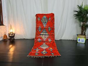 """Tribal Moroccan Vintage Handmade Rug 2'5""""x6'6 Geometric Red Blue Berber Wool Rug"""