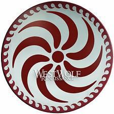 Greek Spiral Shield with Wave Border -- sca/larp/trojan/viking/sheild/wood/armor