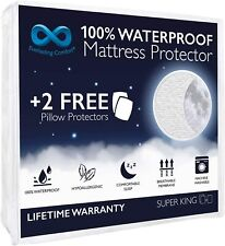 EVERLASTING Waterproof Mattress Protector Super King, Fitted 2 pillow protector