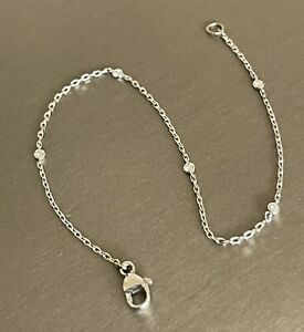 18ct White Gold Solitaire Diamond skinny By the yard Bracelet 0.15ct 7inch
