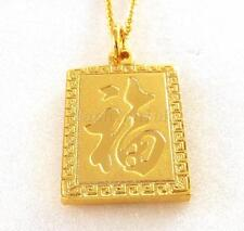 24K Gold Plated Charm Chinese Character Fu Good Fortune Pendant Necklace
