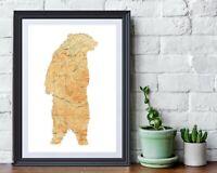 Vintage Adirondack Map • Bear Silhouette • Upstate NY • Lodge Decor • Hamilton