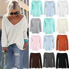 femme manches longues pull tricot en vrac tricot pull pull sweat haut t-shirt