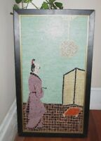 Large Collectible Mosaic Tile Framed Samurai Painting