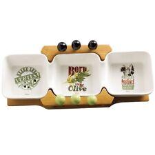 3er Schale auf Holz mit Spießen für Oliven Snack Tapas Snackschale Servierschale