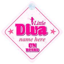Little Diva A BORDO PERSONALIZZATA BABY GIRL Auto Firmare