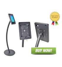Signworld Floor Standing Curved iPad Holder w/ Anti Theft Enclosure Black