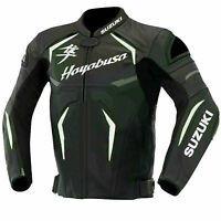 Genuine Leather Hayabusa Energy Suzuki Motorbike Racing Sports Jacket For Men