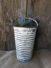 Distressed White Galvanized Metal French Bucket w/ Handle ~ Vase Urban Farmhouse