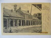 Frankreich Lens zerstörter Bahnhof Feldpost 5. ID 1916 nach Molkenberg (17792)