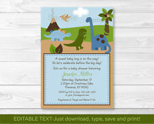 Dinosaur Dino Land Printable Baby Shower Invitation Editable PDF
