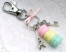 Pastel Macaron Trio Eiffel Tower Keychain, Purse or Bag Charm, Cute & Kawaii :D