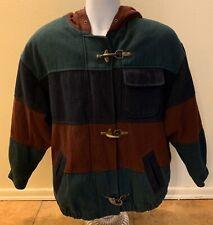 Vintage Charles Klein 3-Color Wool Hooded Coat Jacket Brass Clasp Men Medium