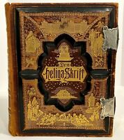 Antique Rare Family Bible 1889 Swedish Many Illustrations Color Leather Map
