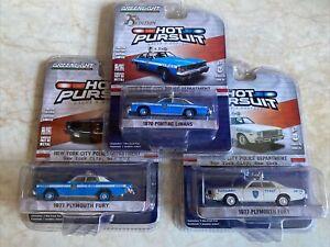 Greenlight 1:64 Hot Pursuit NYPD Bundle 1976 Pontiac Lemans 1977 Plymouth Fury