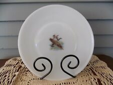 Vintage Fire King White Milk Glass Dinner Plate Game Bird Canada Goose 9 1/8""