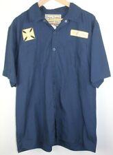 Jesse James Work Wear West Coast Choppers Button Up Mechanic Shirt Size L Blue