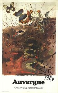 SALVADOR DALI Auvergne 39 x 24.25 Poster 1970 Surrealism Brown Butterfly, Butter