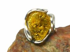 Adjustable  Green  AMBER  Sterling  Silver  925  Gemstone  RING