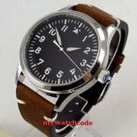 42mm corgeut black dial luminous sapphire crystal sea-gull automatic mens watch