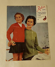 Knitting Pattern ladies girls V round neck easy knit raglan cardigan robin 1042