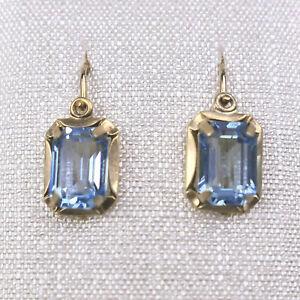 Klassische Ohrringe aus Gold 333, blaue Steine, sehr guter Zustand, 6,5 x 8,5 mm