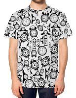 Clocks All Over T Shirt Time Grandfather Future Urban Fashion Men Mens Top Tee