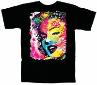 New Marilyn Monroe Face Neon Pinup Men's Women's Black Graphic logo T shirt Tee