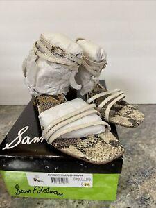 Sam Edelman Womens Doriss Modern Ivory Ankle Strap Heels Sz 9M Snake Print