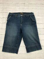 Izod Jeans Women's Size 12 Waist 32 Mid Rise Cotton Blend Bermuda Denim Shorts
