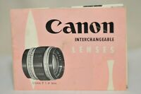 Canon rangefinder interchangeable lenses dealers brochure 50's vintage