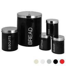 5x Kitchen Storage Canisters Set Tea Coffee Sugar Bread Jars Metal Black