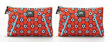 2 x Estee Lauder Red Blue White Floral Cosmetic Makeup Travel Bag