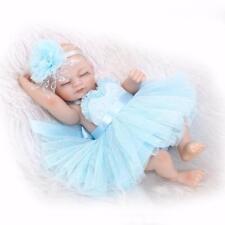 """Reborn Preemie Doll Silicone Full Body Newborn Baby Cute Blue Dress Girl Toy 11"""""""